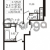 Продается квартира 2-ком 51.84 м² улица Шувалова 3, метро Девяткино