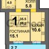 Продается квартира 1-ком 38 м² Дадаева
