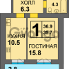 Продается квартира 1-ком 39 м² Дадаева