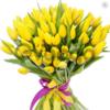 Цветы букет 75 желтых тюльпанов