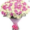 Цветы букет 101 бело-розовая роза