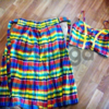 Шикарный ультра модный летний яркий костюм кроп топ