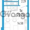 Продается квартира 1-ком 22 м² улица Шувалова 1, метро Девяткино