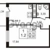 Продается квартира 1-ком 34.75 м² Английская улица 1, метро Улица Дыбенко