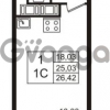 Продается квартира 1-ком 25.03 м² Английская улица 1, метро Улица Дыбенко