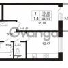 Продается квартира 1-ком 43.08 м² Европейский проспект 9к 1, метро Улица Дыбенко