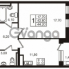 Продается квартира 1-ком 42.8 м² Приморский проспект 44, метро Старая деревня