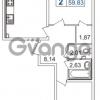 Продается квартира 2-ком 59.83 м² шоссе в Лаврики 74к 1, метро Девяткино