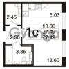 Продается квартира 1-ком 27.49 м² Берёзовая улица 1, метро Проспект Просвещения
