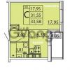 Продается квартира 1-ком 33.41 м² Ленинградское шоссе 11, метро Проспект Ветеранов