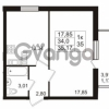 Продается квартира 1-ком 35.17 м² проспект Авиаторов Балтики 2, метро Девяткино