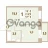 Продается квартира 1-ком 32.1 м² Областная улица 1, метро Улица Дыбенко