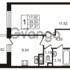 Продается квартира 1-ком 35.55 м² улица Пионерстроя 29, метро Проспект Ветеранов