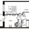 Продается квартира 1-ком 37.31 м² улица Пионерстроя 29, метро Проспект Ветеранов
