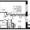 Продается квартира 1-ком 36.89 м² улица Пионерстроя 29, метро Проспект Ветеранов