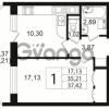 Продается квартира 1-ком 35 м² улица Шувалова 1, метро Девяткино