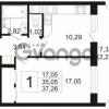 Продается квартира 1-ком 35 м² Воронцовский бульвар 4, метро Девяткино