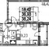 Продается квартира 1-ком 38.24 м² Парашютная улица 54, метро Комендантский проспект