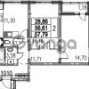 Продается квартира 2-ком 57.79 м² Парашютная улица 54, метро Комендантский проспект