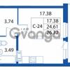 Продается квартира 1-ком 24.61 м² улица Шувалова 1, метро Девяткино