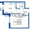 Продается квартира 1-ком 30.36 м² улица Шувалова 1, метро Девяткино