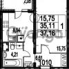 Продается квартира 1-ком 37.16 м² Парашютная улица 54, метро Комендантский проспект