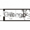 Продается квартира 1-ком 24.52 м² улица Катерников 1, метро Проспект Ветеранов