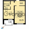 Продается квартира 1-ком 36 м² Парашютная улица 54, метро Комендантский проспект