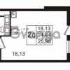 Продается квартира 1-ком 24.44 м² улица Пионерстроя 27, метро Проспект Ветеранов