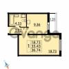 Продается квартира 1-ком 36.74 м² Парашютная улица 54, метро Комендантский проспект