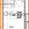 Продается квартира 1-ком 24.7 м² проспект Строителей 7, метро Улица Дыбенко