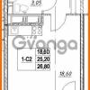 Продается квартира 1-ком 25.2 м² проспект Строителей 7, метро Улица Дыбенко