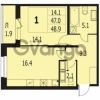 Продается квартира 1-ком 48 м² улица Адмирала Трибуца 7, метро Автово