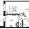 Продается квартира 1-ком 35 м² улица Пионерстроя 29, метро Проспект Ветеранов