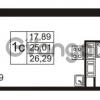 Продается квартира 1-ком 25 м² улица Пионерстроя 27, метро Проспект Ветеранов