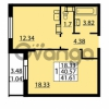 Продается квартира 1-ком 41.61 м² Балтийский бульвар 1, метро Проспект Ветеранов