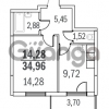 Продается квартира 1-ком 34 м² Шуваловский проспект 40, метро Комендантский проспект