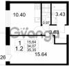 Продается квартира 1-ком 34.07 м² проспект Строителей 2, метро Улица Дыбенко