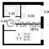 Продается квартира 1-ком 31.94 м² проспект Строителей 2, метро Улица Дыбенко