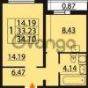 Продается квартира 1-ком 34.1 м² Парашютная улица 54, метро Комендантский проспект