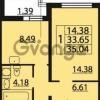 Продается квартира 1-ком 35.04 м² Парашютная улица 54, метро Комендантский проспект