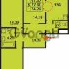 Продается квартира 3-ком 74.29 м² Парашютная улица 54, метро Комендантский проспект
