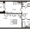 Продается квартира 1-ком 48.5 м² Приморский проспект 44, метро Старая деревня