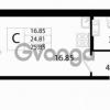 Продается квартира 1-ком 25.85 м² Австрийская улица 3, метро Улица Дыбенко