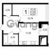 Продается квартира 1-ком 43 м² Приморский проспект 52, метро Старая деревня