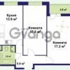 Продается квартира 2-ком 60.57 м² улица Крыленко 1, метро Улица Дыбенко