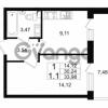 Продается квартира 1-ком 30.24 м² проспект Строителей 1, метро Улица Дыбенко