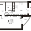 Продается квартира 1-ком 42.99 м² улица Катерников 1, метро Проспект Ветеранов