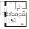 Продается квартира 1-ком 34.12 м² улица Адмирала Черокова 18к 3, метро Проспект Ветеранов