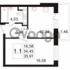 Продается квартира 1-ком 34.45 м² улица Адмирала Черокова 18к 3, метро Проспект Ветеранов